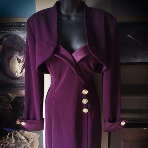 Betsy & Adam Purple Dress and Matching Crop Blazer